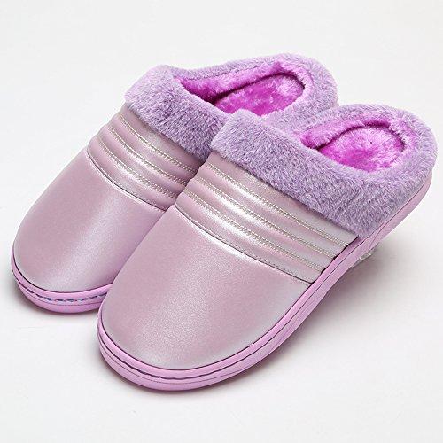 Fankou nuova lucentezza impermeabile cotone pantofole inverno home femmina caldo gli uomini 's cashmere paio di scarpe di cotone Weiß