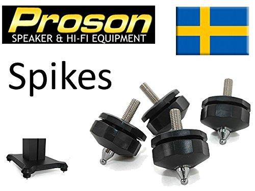 ProSon justerbara–Kit 4Stück. Halterungen Spikes für HiFi-Lautsprecher mit Gewinde M8. In Ausstattung Stollen und Filz. Ideal zum Trennen von Lautsprecherboxen vom Boden. (Stollen Spitze)