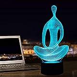 Yoga Méditation Lampe d'illusion 3D Led Lumière de nuit, 7 couleurs clignotant Interrupteur tactile Décoration de chambre à coucher pour les enfants Noël cadeau décoration de la maison
