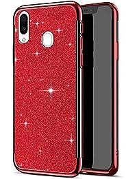 Herbests Funda compatible con Samsung Galaxy M20, Carcasa Silicona Galaxy M20 Brillante Glitter Brillo Enchapado Funda Caso de Cristal Trasparente Suave Gel de TPU Cubierta de Silicona, Rojo