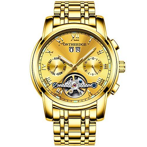 RORIOS Herren Automatik Mechanisch Armbanduhr Edelstahl Metallarmband Tourbillon Kalender Leuchtend Zeiger Multifunktionen Armbanduhr Wasserdicht Uhr