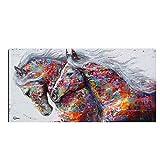 Provide The Best Zwei laufende Pferd Bunte Tiere Abstrakt Unframed Kunst auf Leinwand HD Printed Ölgemälde Poster Bilder
