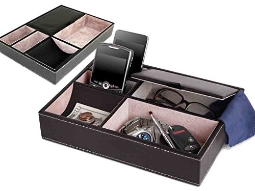 FiNeWaY@ 5 COMPARTMENT LEATHER VALET TRAY MENS DRESSER WALLET OFFICE JEWELLERY STORGE BOX by FiNeWaY (Mens Klappe Wallet)