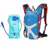 West Biking Outdoor Sport Radfahren Mini Fahrrad Rucksack Bike Rucksack Tasche Wandern Daypacks + 2L BPA-frei & FDA Wasser Tasche Trinkblase Blau blau