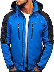 BOLF Herren Softshell Funktionsjacke Freizeitjacke Atmungsaktiv Kapuze Outdoor Sportlicher Stil FREESTEP P06 Blau M [4D4]