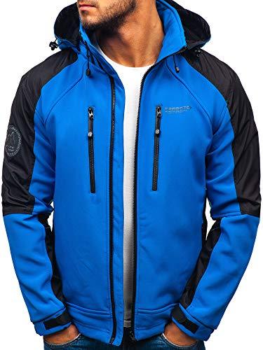 Bolf - giacca con cappuccio - softshell - con cerniera - antivento - impermeabile - outdoor - uomo freestep p06 blu m [4d4]