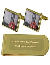 Big Ben de autobuses rojos de Londres Gemelos de oro-tono Money Clip grabado Set de regalo