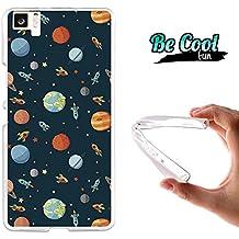 Becool® Fun - Funda Gel Flexible para bq Aquaris M5 Carcasa TPU fabricada con la mejor Silicona, protege y se adapta a la perfección a tu Smartphone y con nuestro exclusivo diseño Cohetes y planetas