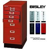 BISLEY Schubladenschrank 29 aus Metall | Schrank mit 8 Schubladen und Sockel | Büroschrank DIN A4 | Werkzeugschrank | Metallschrank in 6 Farben (Kardinalrot)