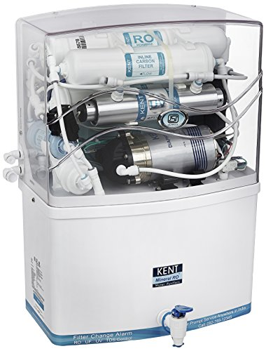 Kent Grand 8-Litre Wall Mountable RO+UV Water Purifier with Transparent Cover (White)