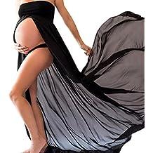 BBsmile Ropa para Mujeres Embarazadas Mujeres Embarazadas Accesorios de fotografía Sexy Vestido de Hombros Blanco/
