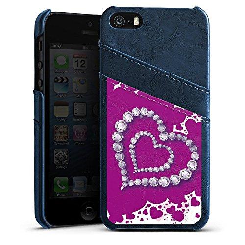Apple iPhone 5 Housse Étui Silicone Coque Protection C½ur Amour Amour Étui en cuir bleu marine