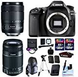 Canon EOS 80D + Canon 18–135 mm is USM (Neues Modell) + Canon 55–250 mm is STM + 2 32 GB Transcend SD-Speicherkarten + Spare LP E6 + LED Video Licht Bundle & Mehr – International Version
