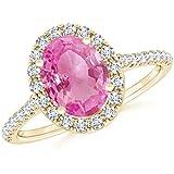 Anillo de zafiro rosa ovalado para mujer con detalles de diamante