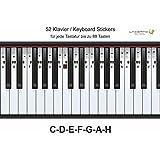 Klavier-, Piano-, Keyboard-, Noten- Aufkleber, C-D-E-F-G-A-H, 52 Stickers