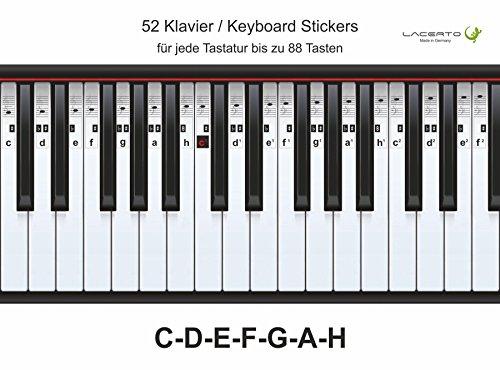 Lacerto® | Klavier-, Piano-, Keyboard-, Noten- Aufkleber, C-D-E-F-G-A-H, 52 Stickers