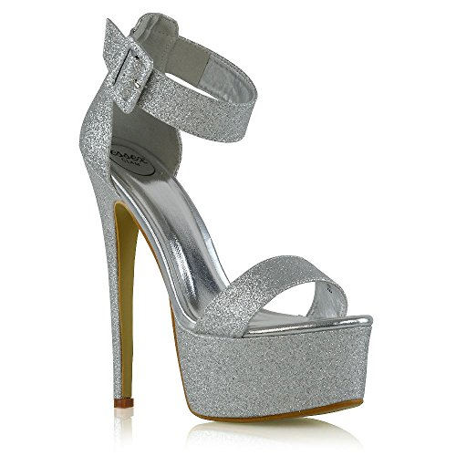 ESSEX GLAM Damen Fesselriemen Offener Zeh Stiletto-Absatz Silber Glitzerstaub Plattform Party Schuhe EU ()