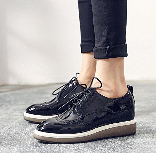 Frau flache Schuhe Singles Schuhe Herbstweinlese kleine Muffin unten Spitze Schuhe Schuhe Aufzug Black