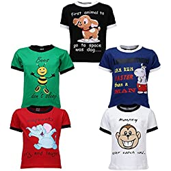 Goodway Junior Boys 5 Pack Did you Know Theme Combo Pack of 5 T-Shirts - 3-4 Years