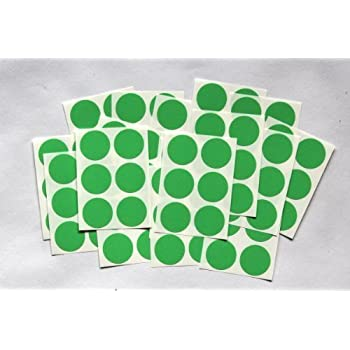 100 green round stickers sticky coloured self adhesive labels for colour coding
