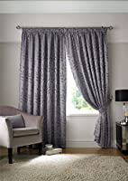 Silver Woven Jacquard Trailing Leaf Pencil Pleat Curtains 66x54 - 168cm X 137cm by Curtains