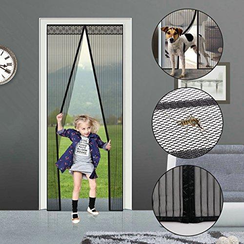 Zanzariera Magnetica con Magneti Potenti e Nastro Velcrato A Pieno Telaio Per Porta Finestra e Porta Scorrevoli,Dimensioni Fino A 100 cm x 210 cm (Nero)