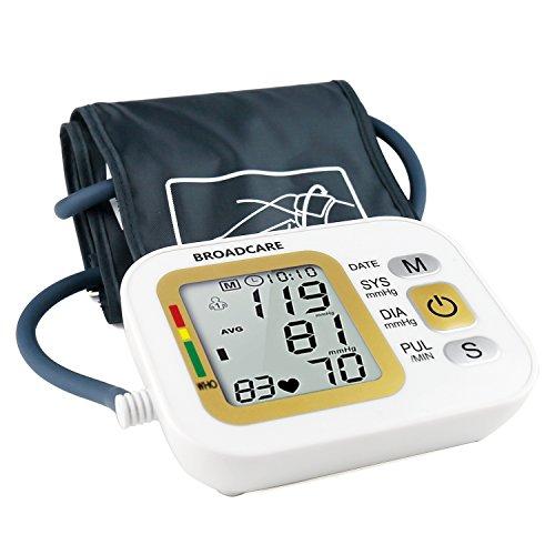 Misuratore di Pressione Arteriosa BROADCARE con Fascia da Braccio Regolabile, Doppia Memoria Fino a 99 Registrazioni Ciascuno, Funzionamento con Batteria al Litio Ricaricabile Incorporata