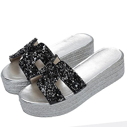 Heart&M Casual talon plateforme Paillettes strass Wedge Femmes solides Chaussures Couleur Chaussons Sandals Beach Black