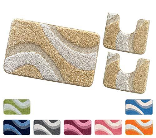 Arrediamoinsieme-nelweb tappeti bagno shaggy parure set 3 pezzi moderni morbidissimi retro antiscivolo mod.evia parure beige (a)