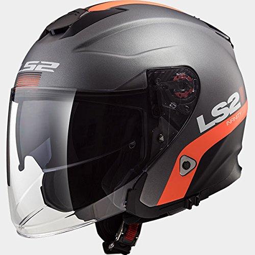 LS2 OF521 INFINITY SMART Doppia visiera Jet e Demi-Jet Open Face Casco Moto - Matt TITANIO Arancia XS(53-54cm)