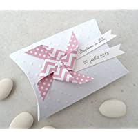 Boîte à dragées + moulin à vent pois chevron rose pastel - cadeau de remerciement pour invités anniversaire, baptême,
