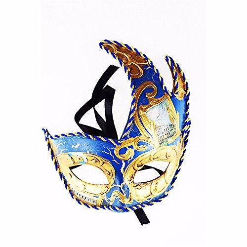 ONE-K Mask Spitze Dreieck Maple Leaf Flamme Crack Mask Masquerade Maske Half Face, Gold Blau -