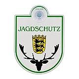Saugnapfschild Schild'Jagdschutz - Baden Württemberg' Acrylschild 3mm mit Saugnapf 30mm, ca. 90x125 mm für Scheibeninnenbefestigung