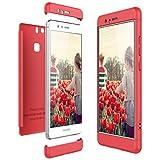 CE-Link Cover per Huawei P9 360 Gradi Full Body Protezione, Custodia Huawei P9 Silicone Rigida Snap On Struttura 3 in 1 Antishock e Antiurto, Huawei P9 Case AntiGraffio Molto Elegante - Rosso