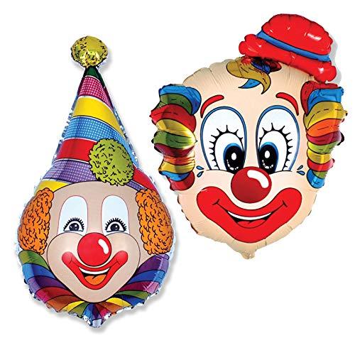 lons ca. 80cm Luftballons Folienballon Geburtstag Figur deko XXL (Clown mit Kragen und Hut) ()