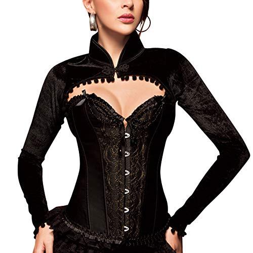 Kostüm Burlesque Frauen - R-Dessous Damen Samt Bolero Jäckchen schwarz Schulterjacke Langarm Jacke Blazer Oberteil Top Groesse: S/M