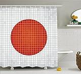 Abakuhaus Duschvorhang, Mosaik Flagge Japan Grunge Fraktal Hintergrund Symmetrischer Wertiger Moderner Grafikdruck, Blickdicht aus Stoff mit 12 Ringen Waschbar Langhaltig Hochwertig, 175 X 200 cm