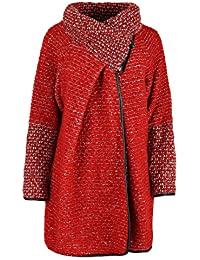 GG Frauen Damen Italian Lagenlook Quirky Schicht Wool Zip Langarm-Cocoon-Mantel-Jacken Poncho Cape Oversize, Rot, One Size Plus 42-46