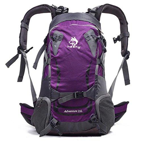 Outdoor Trekking Rucksack Klettern Fischen Tasche Wasserdicht 35L Purple
