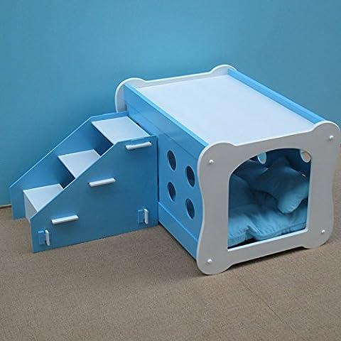 Camera doppia PET con scala composto solido legno pet House Dog Kennel X, gabbia dell'animale domestico di canile di Villa L , blue , M - Portatile Dog Bath