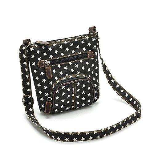 Mefly Tempo Libero Borsa Vento Blu Tasca Anteriore Della Spalla Croce Diagonale Bag Black black