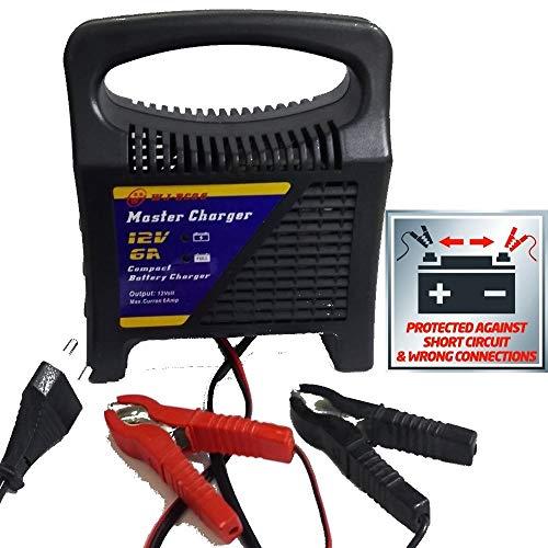TrAdE shop Traesio Caricabatterie Batteria Piombo per Moto Scooter con VOLTAGGIO da 12V 6 Ampere