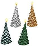 SIGRO 4Couleurs Assorties de Sapin de Noël Forme Bougie, 6x 12cm, Vert/Argent/doré/Blanc/Vert