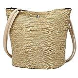 Gaddrt Fashion Women Straw Bags Casual Shoulder Bag Woven Bucket Crossbody Bag Handbag (I)