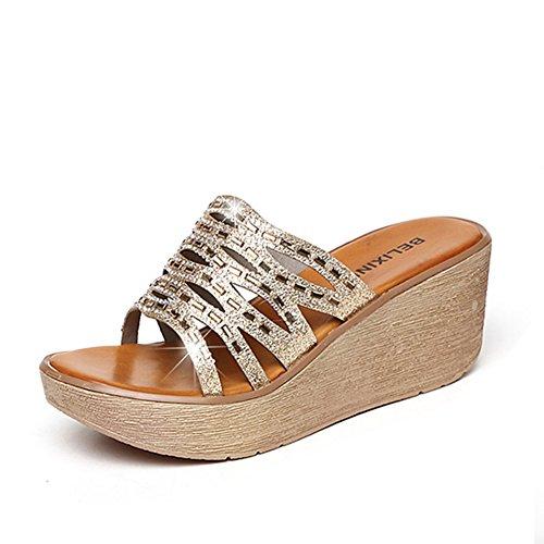 Modo di estate che porta lle pantofole inferiori spesse/Sandali anti-frane e strass A