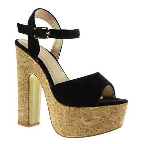 Angkorly Damen Schuhe Sandalen - Knöchelriemen - Plateauschuhe - Kork Blockabsatz High Heel 15 cm Schwarz