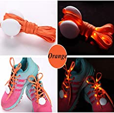 JERN Polyester Cool Fashion Self Luminous Light up LED Flash Party Skating Glowing Shoe Laces for Boys and Girls (Orange)