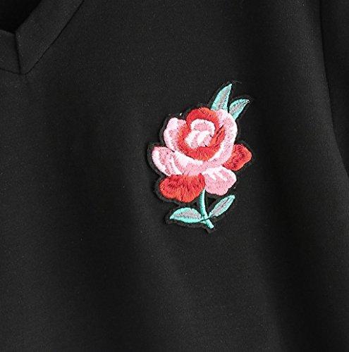 Rosennie Damen Sommer Rose Gestickt T-Shirt Schwarz B