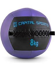 Capital Sports Wallba 14 Balón medicinal de cuero sintético (peso 14 kg, forro exterior, costuras resistententes, superficie manejable, esfera ejercicios gimnasia, pelota agarre adecuado para entrenamiento funcional, marrón)