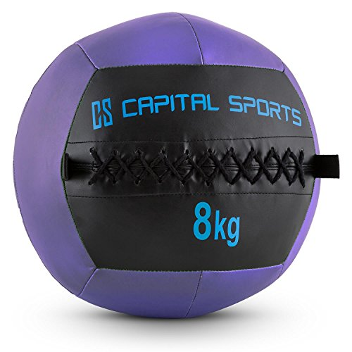 Capital Sports Epitomer • Medizinball • Wall Ball • Fitness Ball • Krafttraining • Ausdauertraining • Functional Training • vernähtes Kunstleder • griffige Oberfläche • Studio Qualität • Farbe: lila • Gewicht: 8 kg (Slam Medizin Ball)